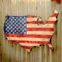 "32"" USA Stars and Stripes Rustic Map"