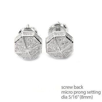 Jewelry Kay style Men's Bling Icy Silver Plated Octagon Screw Back Stud Earrings SE 11622 S