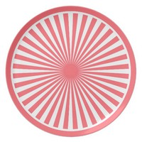 Coral Red with White Circle Pattern Plate