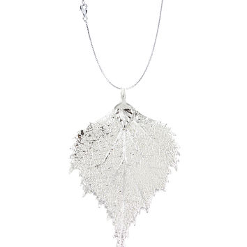 Real Leaf PENDANT with Chain BIRCH Dipped in Sterling Silver Necklace
