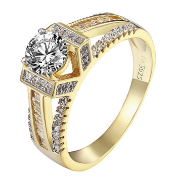 Solitaire Wedding Ring Ladies 14k Gold Over Sterling Silver Brilliant Cut Bridal