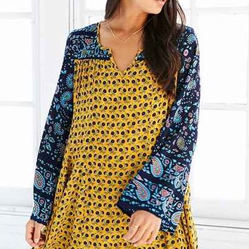 Patrons Of Peace Print-Mix Bell-Sleeve Mini Dress - Urban Outfitters