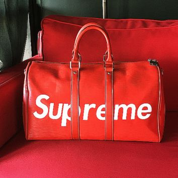 Supreme Fashion Print Leather Luggage Travel Bag Tote Handbag For Women Men Red