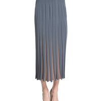Bicolor Pleated Midi Skirt, Size: