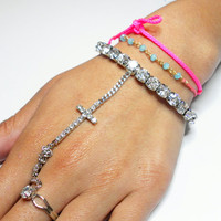 Silver plated stretch rhinestone clear crystals ring bracelet - slave bracelet handpiece cross charm adjustable
