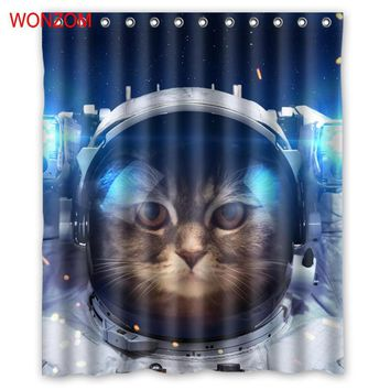 WONZOM 1Pcs Cat Astronaut Waterproof Shower Curtain