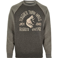 River Island MensGrey Jack & Jones Vintage nails sweatshirt