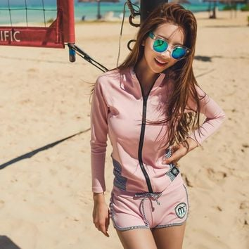 Rhyme Lady New desgin Sexy summer lady Bathing Suit pink color four pieces long sleeve Rash Guards