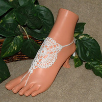 Crochet White Victorian Lace Filigree Barefoot Sandals, Footless Sandles, Beach, Bridal, Anklet, Foot Chains, Shoes
