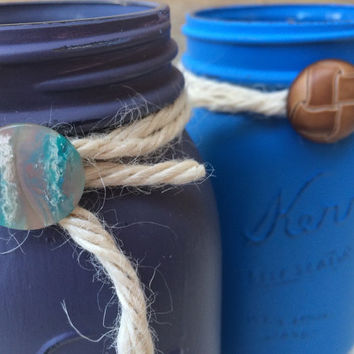 Decorative Mason Jars - Hand Painted and Distressed in Blue and Purple with Decorative Buttons - Home Decor