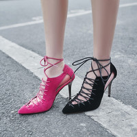 High Heels Sandals Pointed Toe Lace Up Cut Out Party Pumps Shoes