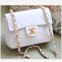 CHANEL Women Shopping Leather Metal Chain Crossbody Shoulder Bag white