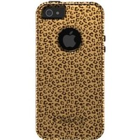 CUSTOM OtterBox Commuter Series Case for iPhone 5 5S - Brown Tan Beige Cheetah Skin Print Pattern