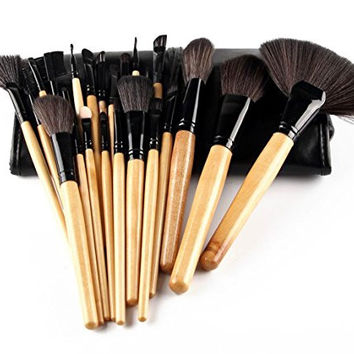 24 Pieces Professional Wood handle Foundation Blending Blush Eyeliner Face Liquid Powder Cream Cosmetics Brushes Kit With Case