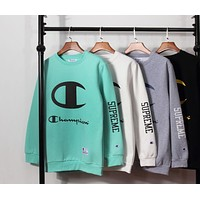 Champion Fashion Classic Print Big Logo Round Collar Sport Top Sweater Sweatshirt