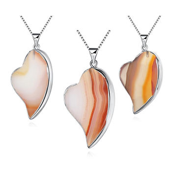 Fire Opal Petite Heart Natural Agate Necklace