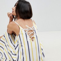ASOS DESIGN Stripe Swing Trapeze Midi Sundress With Lace Up Back at asos.com