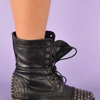 Rylie Studded Combat Boots - Black at Necessary Clothing