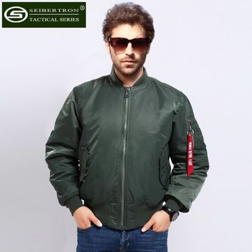 Seibertron Arrival Pilot Jacket For Men Solid Style Military Flight Jacket  Men's Clothes MA1 jacket waterproof