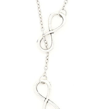 Infinity Loops Necklace Silver Tone Eternity Statement Double Pendant NR28 Fashion Jewelry