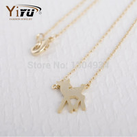 Bambi Deer Shape Necklace Simple Dainty Cute Animal Fashion Women Long Chain Lovely Necklace Gold Silver N112