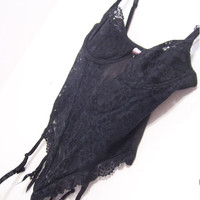 Victoria Secret Black Lace Teddy Corset Design with Garters Sexy Honeymoon Lingerie