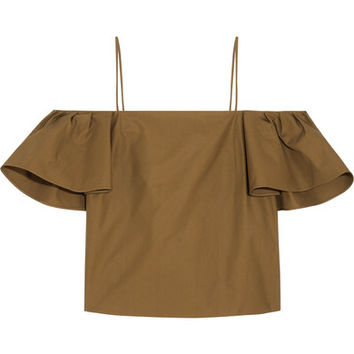Fendi - Off-the-shoulder cotton-poplin top