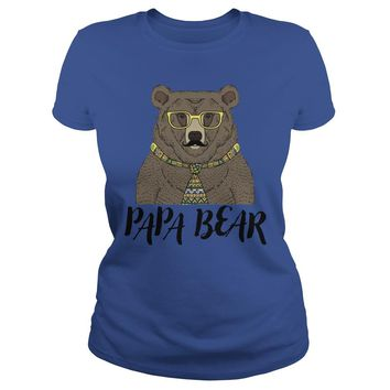 Papa bear father's day shirt Premium Fitted Ladies Tee