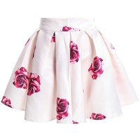 Sheinside Women's Apricot Rose Print Flare Skirt