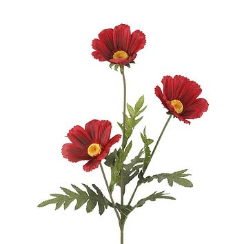 "Daisy Silk Flower Spray in Apple Red- 28"" Tall"