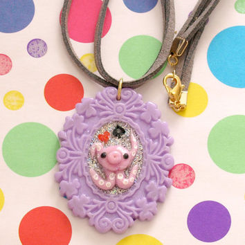Octopi, kawaii, polymer clay, tentacle, octopus, necklace, fake leather, OOAK jewelry