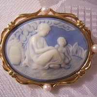 Monet Mother Child Pin Brooch Vintage Pearl Wedgewood Blue Carved Gold | PrettyJewelryThingsStore - Jewelry on ArtFire