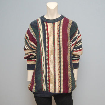Vintage Crazy Cosby Style Men's Sweater by North Whales - Green, Burgundy and Ivory Pattern - Size Large
