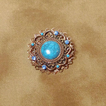 Large Copper Brooch, Turquoise, Blue Rhinestones, Round, Sun Brooch, Flower Brooch, Dimensional, Braided, Layered, Vintage Steampunk