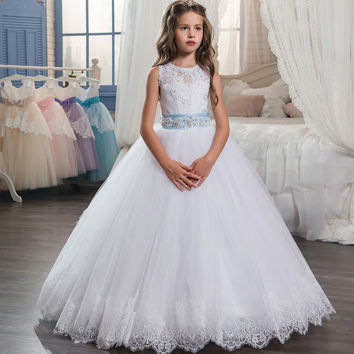 2017 New Flower Girl Dresses Sleeveless O-Neck Ball Gown Lace Up First Communion Dresses Hot Vestidos De Comunion Custom Make
