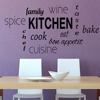 Family Wall Decal Quote Kitchen Stickers Vinyl Decals Art Mural Cuisine Home Decor Cafe Interior Design Bon Appetit Kitchen Room Decor KI49