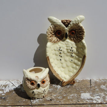 Owl Spoon Rest and Toothpick Holder Vintage Owl Soap Dish