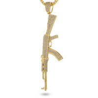 14K Gold Studded AK-47 Necklace