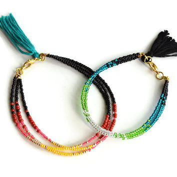 Ombre Tribal Tassel Bracelet, Tassel Friendship Bracelet, Tribal Bracelet, Stacking Bracelet