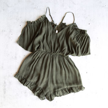 crinkled peek a boo shoulder romper with ruffle hem - olive