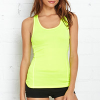 FOREVER 21 Reflective Trim Workout Tank Neon Yellow Large