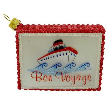 Ornaments To Remember Travel Sticker Bon Voyage Suitcase Glass Ornament