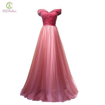 SSYFashion 2017 New Wine Red Lace Evening Dress Bride Banquet Sweetheart Boat Neck Floor-length Lace Party Formal Dress Custom
