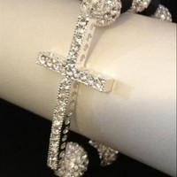 NEW Bling Hoops 100% Silver Shamballa Swarovski Cross Bracel