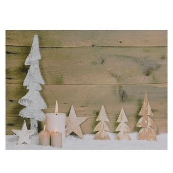 "LED Lighted Flickering Candles and Winter Wooden Trees Canvas Wall Art 12"" x 15.75"""