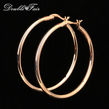 Double Fair Brand Large/Small Round Hoop Earrings Rose Gold Color Fashion Vintage Jewelry For Women DFE780