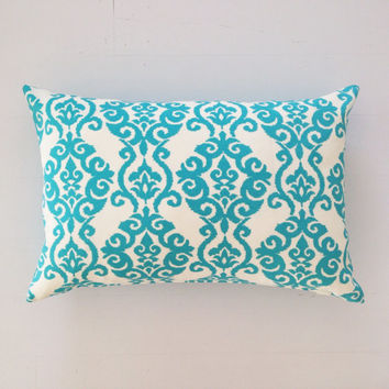 Outdoor cushion - turquoise baroque designer lumbar cushion cover - FREE SHIPPING Australia wide