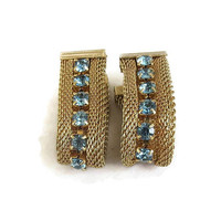 Blue Rhinestone Mesh Hoop Earrings Vintage Mid-Century Signed