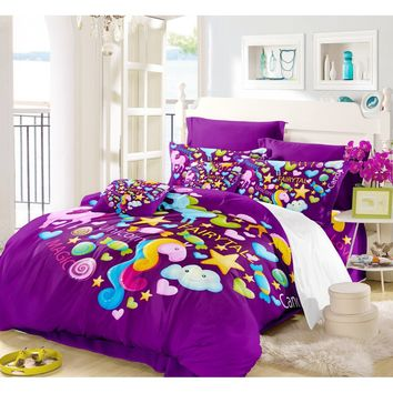 Home Textile Unicorn Home and Kids Decor Duvet Cover Set Mythical Animal with Clouds Purple Image 3/4 Piece Bedding Set