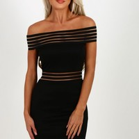 Rule Breaker Black Mesh Bardot Mini Dress